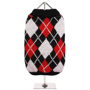 Red and Black Argyle Dog Jumper - Posh Pawz Fashion