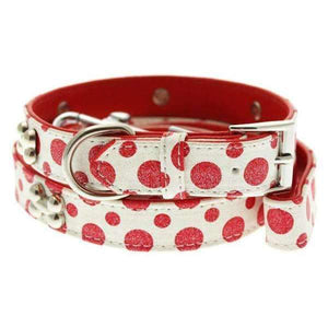 Red and White Polka Dot Glitter Silver Bone Dog Collar and Lead Set - Posh Pawz Fashion