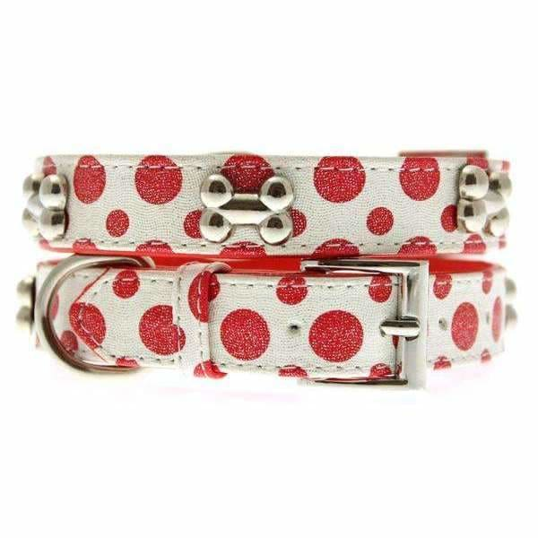 Red and White Polka Dot Glitter Silver Bone Dog Collar - Urban Pup - 1