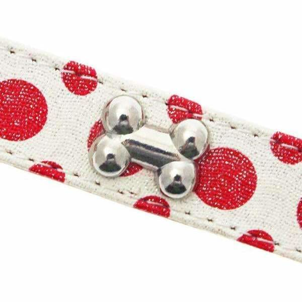 Red and White Polka Dot Glitter Silver Bone Dog Collar - Urban Pup - 2