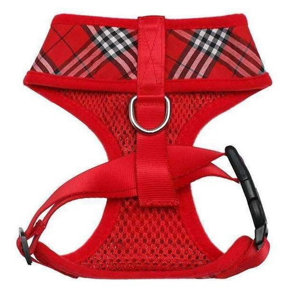 Red Checked Tartan Dog Harness3 - Posh Pawz Fashion
