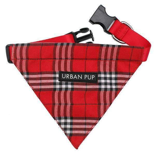 Red Checked Tartan Fabric Dog Bandana - Posh Pawz Fashion