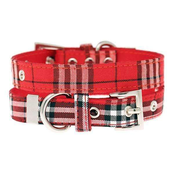 Red Checked Tartan Fabric Dog Collar - Posh Pawz Fashion