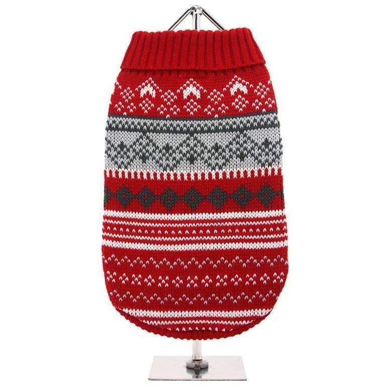 Red Fair Isle Vintage Dog Jumper - Posh Pawz Fashion