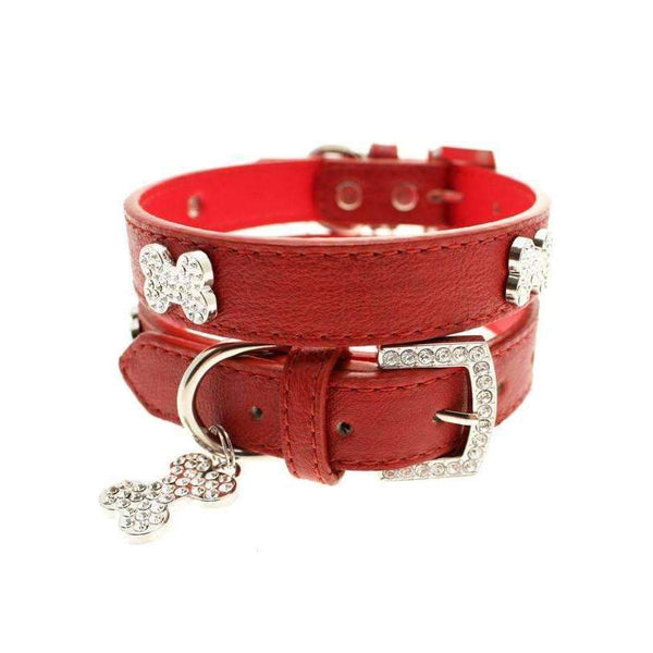 Red Leather Diamante Bone Dog Collar And Lead Set - Posh Pawz Fashion