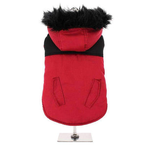 Red On Black Two Tone Parka Dog Coat - Posh Pawz Fashion