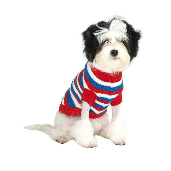 Red White And Blue Striped Dog Jumper - Posh Pawz Fashion