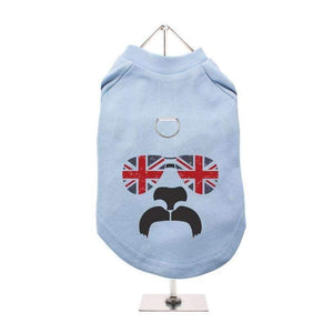 Shades and Tash Harness Lined Dog T-Shirt Baby Blue - Posh Pawz Fashion