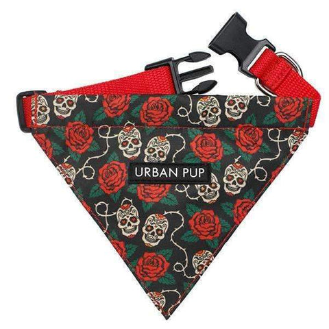 Skull And Roses Fabric Dog Bandana - Posh Pawz Fashion