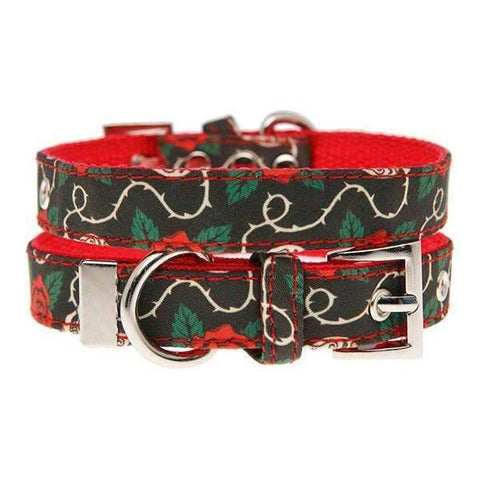 Skull And Roses Fabric Dog Collar - Posh Pawz Fashion