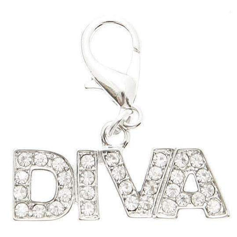 Swarovski Diva Dog Collar Charm Clear Crystals - Posh Pawz Fashion