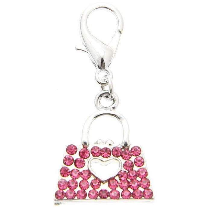 Swarovski Handbag Dog Collar Charm Pink Crystals - Posh Pawz Fashion