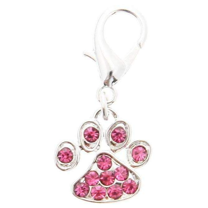 Swarovski Little Paw Dog Collar Charm In Pink - Posh Pawz Fashion