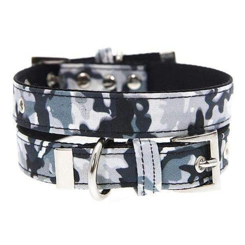 Urban Camouflage Fabric Dog Collar - Posh Pawz Fashion