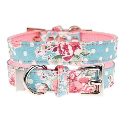 Vintage Rose Floral Fabric Dog Collar - Posh Pawz Fashion