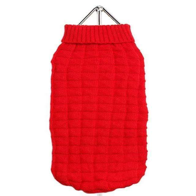 Waffle Textured Knitted Dog Jumper Red - Posh Pawz Fashion