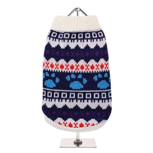White Fair Isle Dog Jumper - Posh Pawz Fashion