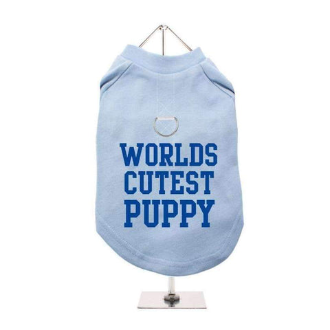 Worlds Cutest Puppy Harness Lined Dog T-Shirt Baby Blue - Posh Pawz Fashion