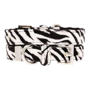 Zebra Print Fabric Dog Collar - Posh Pawz Fashion