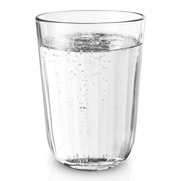Fluted water tumblers, set of 4 large clear 340ml
