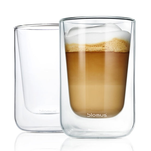 Double-walled cappuccino glasses, set of 2 clear 250ml