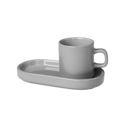 Minimo Espresso Cups with Tray, set of 2 grey