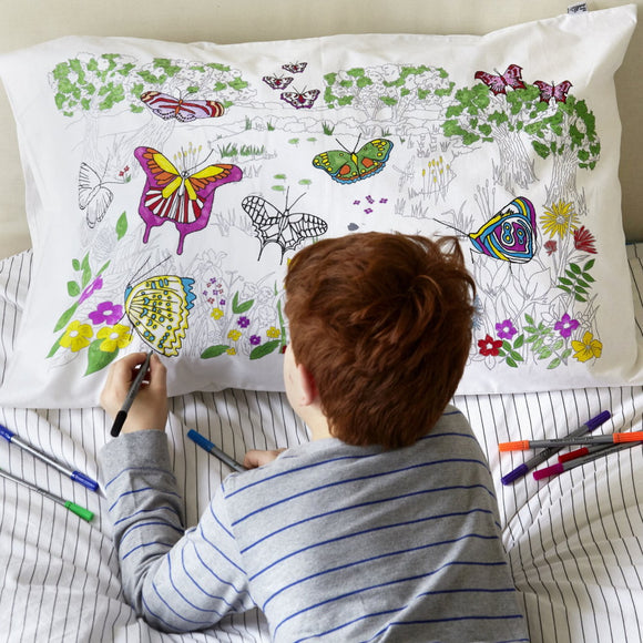 Doodle Art Colour-in Butterfly pillowcase