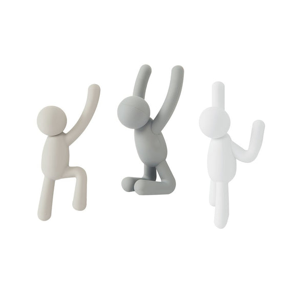 Climbing Buddy Wall Hooks, SET OF 3 grey/taupe/white
