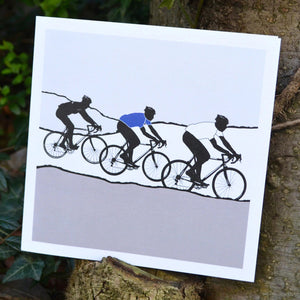 Tour de Yorkshire Cyclists Greeting Card, blue/grey