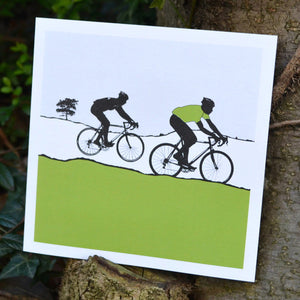 Tour de Yorkshire Cyclists Greeting Card, green