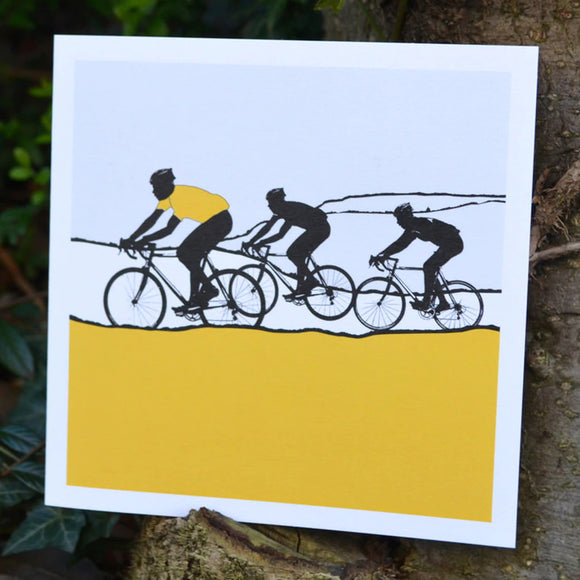 Tour de Yorkshire Cyclists Greeting Card, yellow
