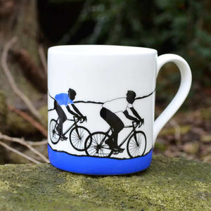 Tour de Yorkshire Cyclists Mug, blue/white