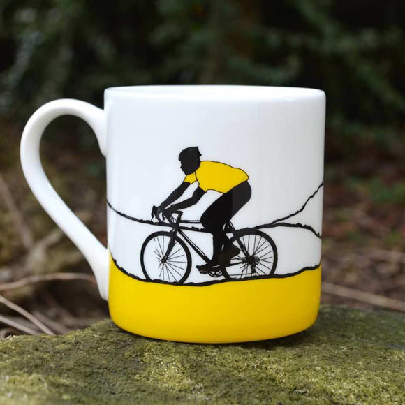 Tour de Yorkshire Cyclists Mug, yellow