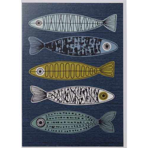 Elouise Greeting Card, blue Fishes