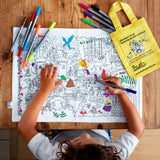 Doodle Art Colour-in Fabric single Placemat - Fairytale