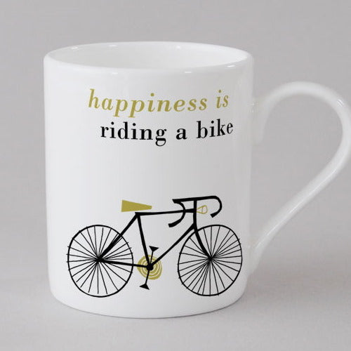 Happy Cycle mini Mug, olive/yellow