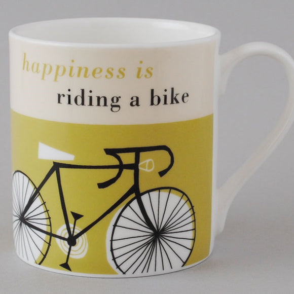 Happy Cycle Mug, olive/yellow