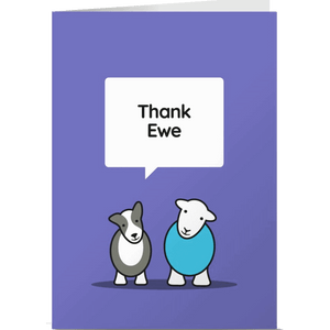 Herdy Greeting Card, Thank Ewe