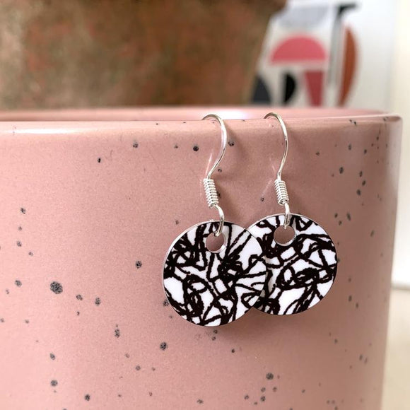 Jenni Draw small Earrings, Black & White