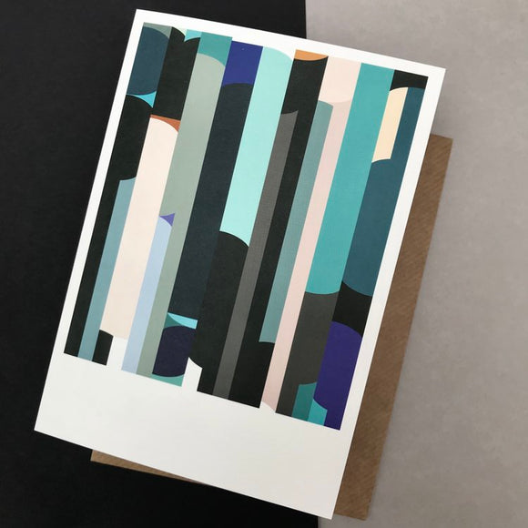 Vincent & Wood Abstract Greeting Card, blue