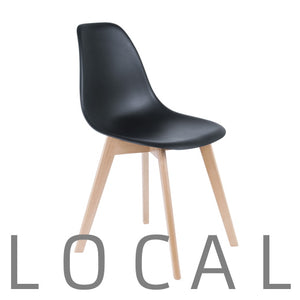 Chair with beech legs, black