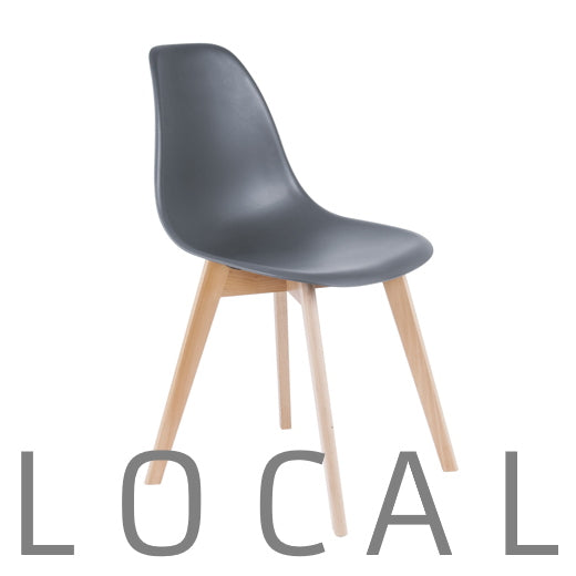 Chair with beech legs, grey