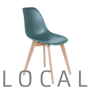 Chair with beech legs, teal