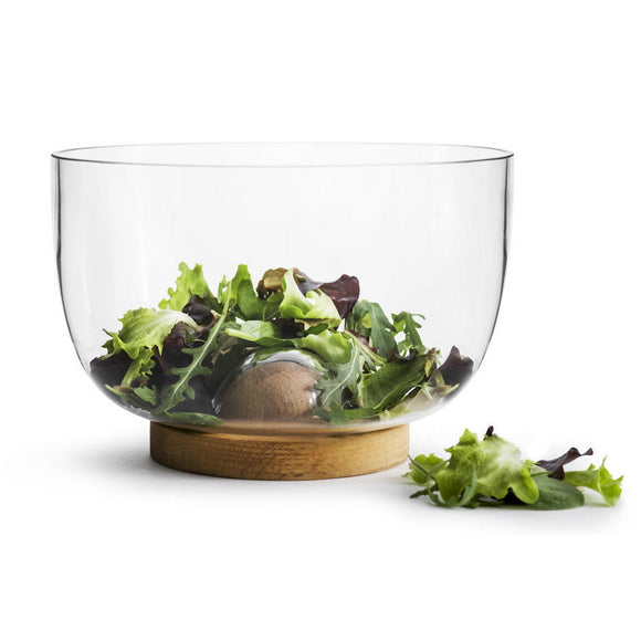 Salad serving bowl with oak base