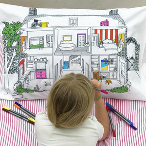 Doodle Art Colour-in Pillowcase - Doll's House