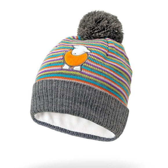 Herdy Striped Kid's Bobble Hat, Multi-coloured