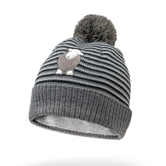 Herdy Striped Kid's Bobble Hat, Grey