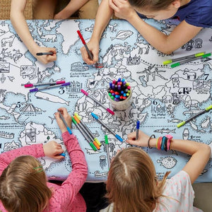 Doodle Art Colour-in Fabric Tablecloth - World Map