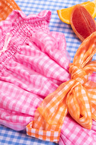 pink gingham midi dress bow detail