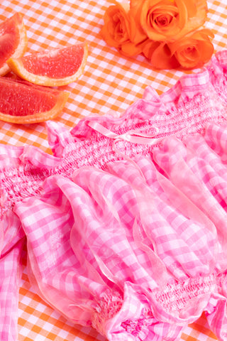 pink gingham bardot top front close